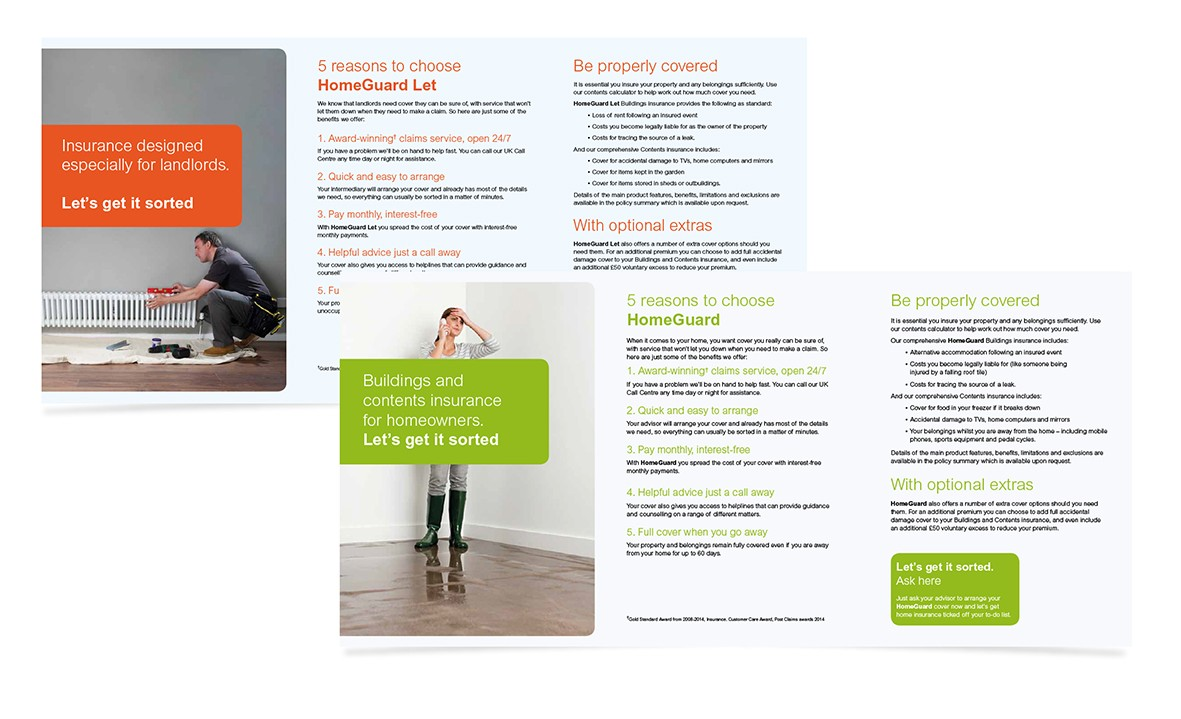 Home Insurance leaflets. financial services, creative consultants