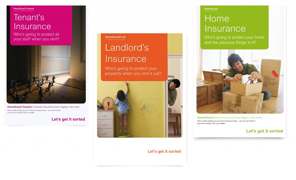 Home Insurance leaflet brand front covers. financial services, creative consultants