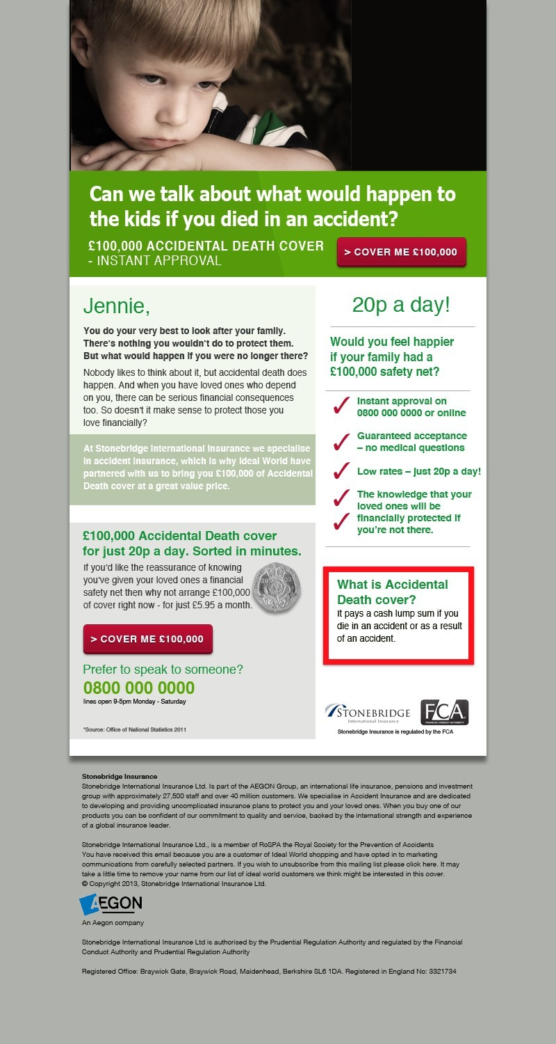 Protection insurance email campaign. financial services, creative consultants